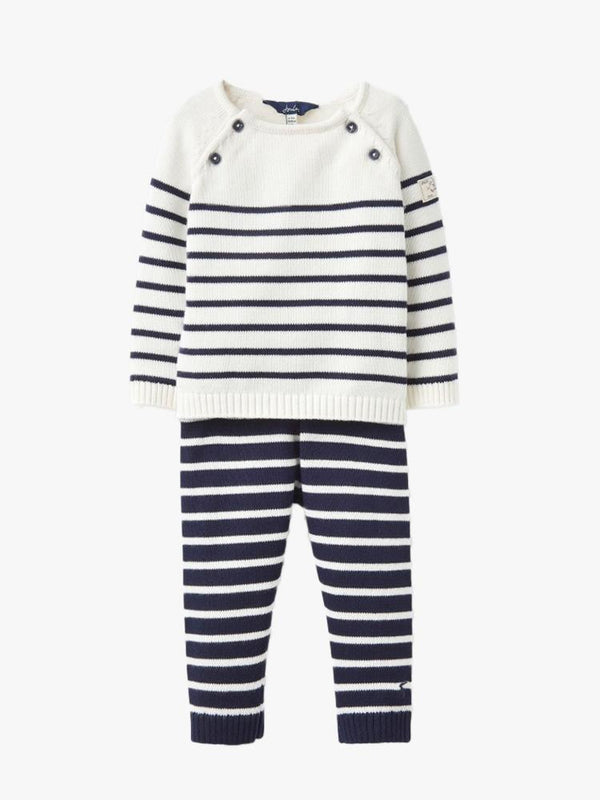 CREAM NAVY Joules Baby Boys George Knitted Top and Trousers Set
