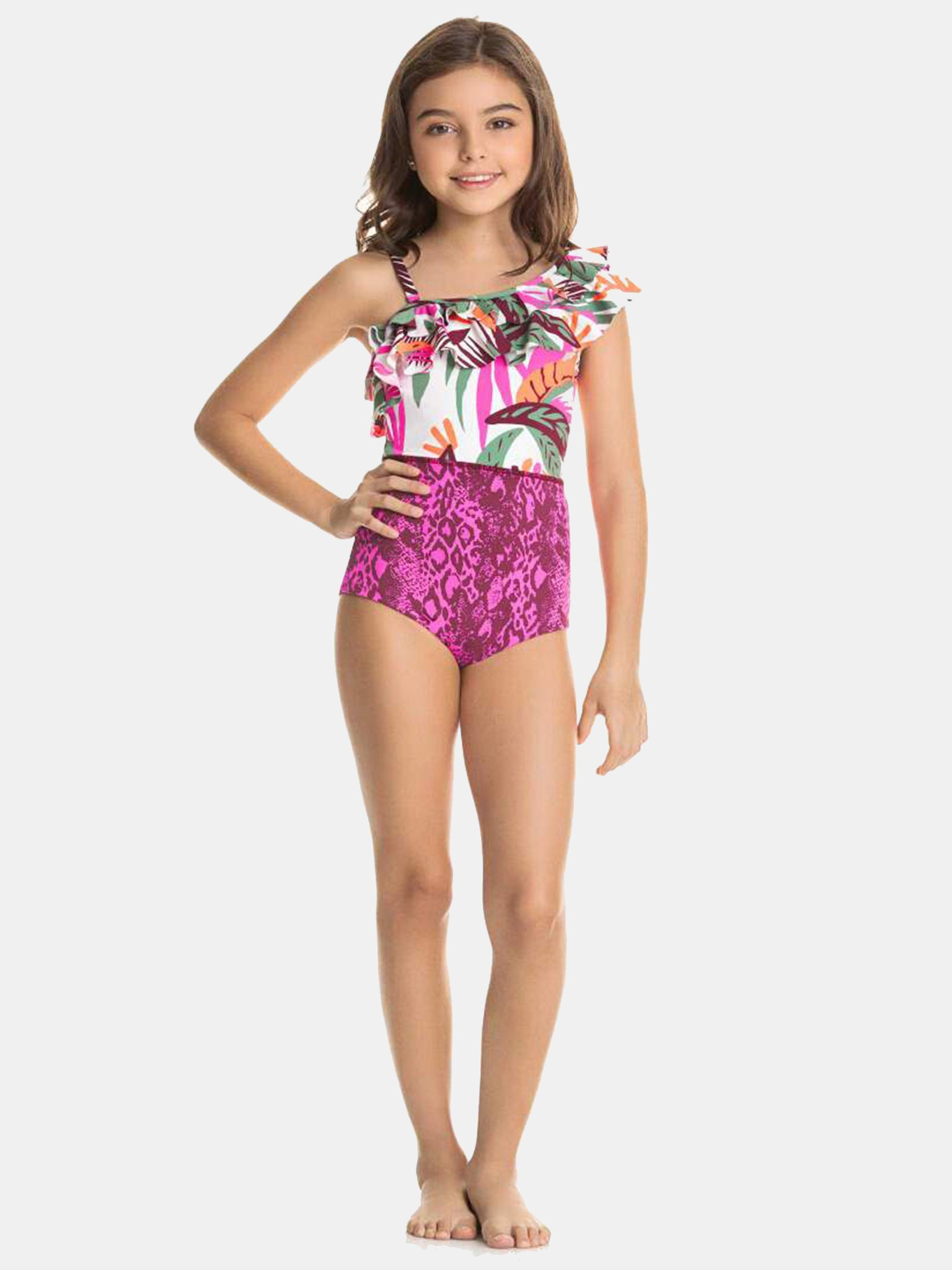 Blue Wave All-Over Print Water Marbled One Piece Youth Swimsuit Girl/'s