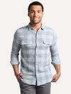True Grit Men's Mini Check Plaid Long Sleeve Two Pocket Shirt