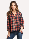 Trovata Women's Logan Henley Plaid Top