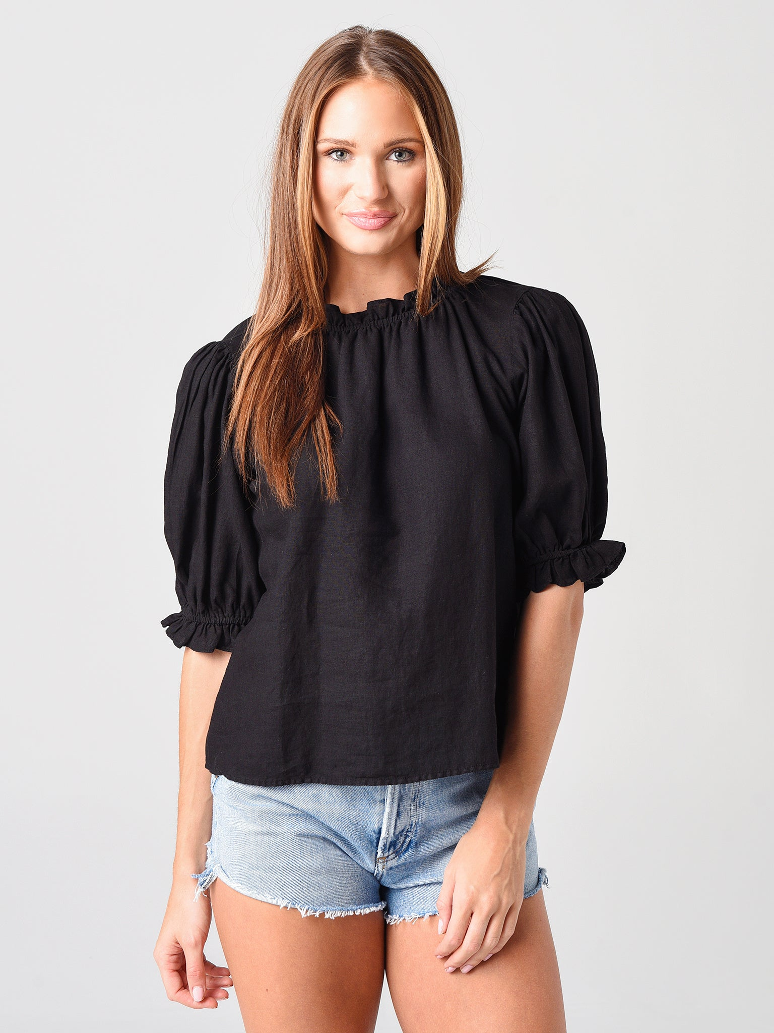 Velvet Women's Rosabel Woven Linen Puff Sleeve Top