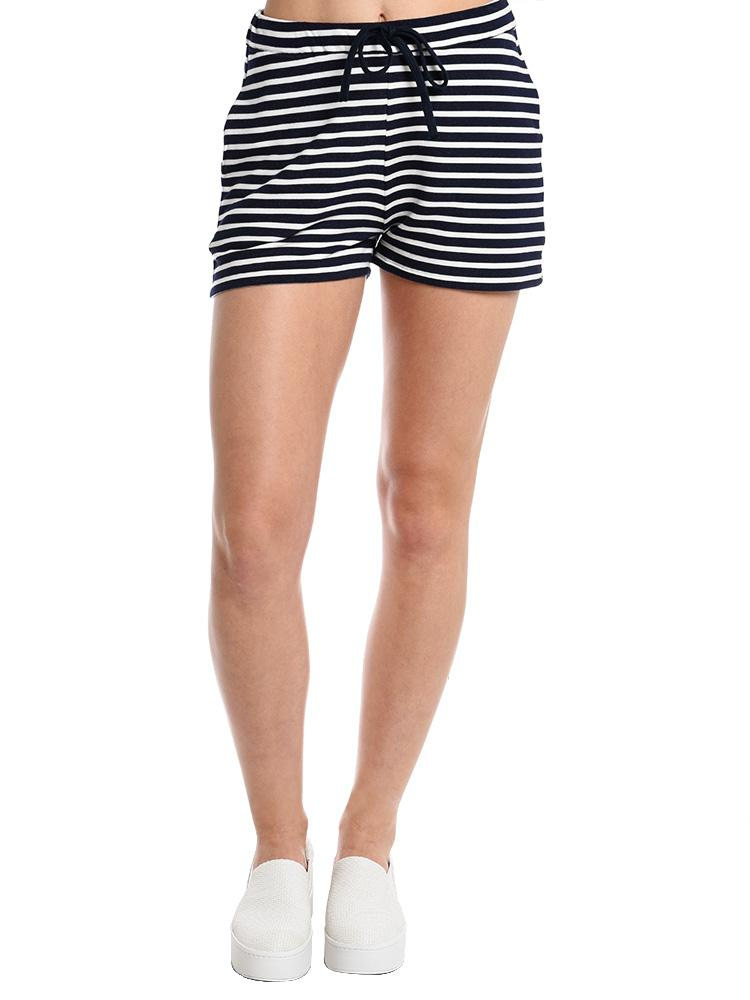 Majestic French Terry Stripe Mini Drawstring Shorts