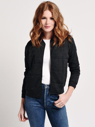 Majestic Viscose Quilted Zip Front Blazer Jacket