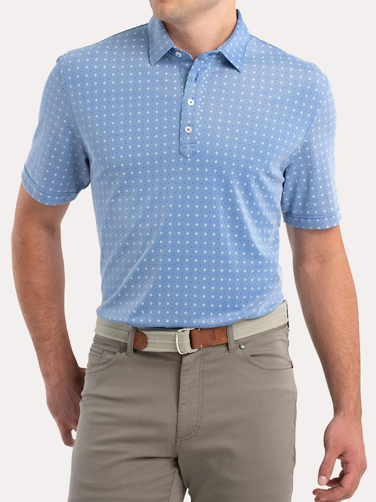 Johnnie-O Men's Otis Printed Prep-Performance Pique Polo