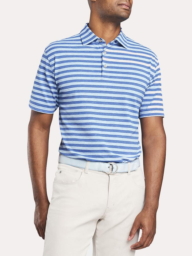 Peter Millar All The Way Donegal Stripe Stretch Mesh Pique Polo