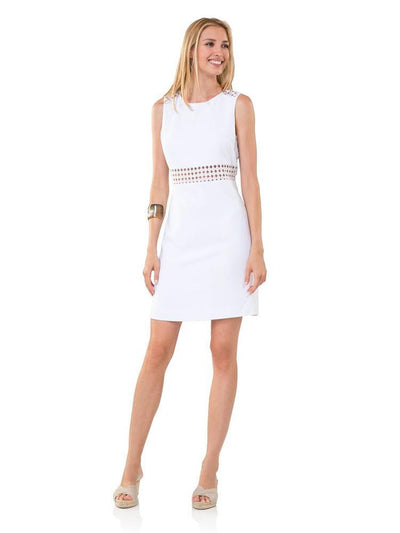 Sail to Sable Poly Crepe Lace Dress White