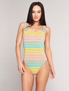 Trina Turk Lurex Stripe High Leg Maillot