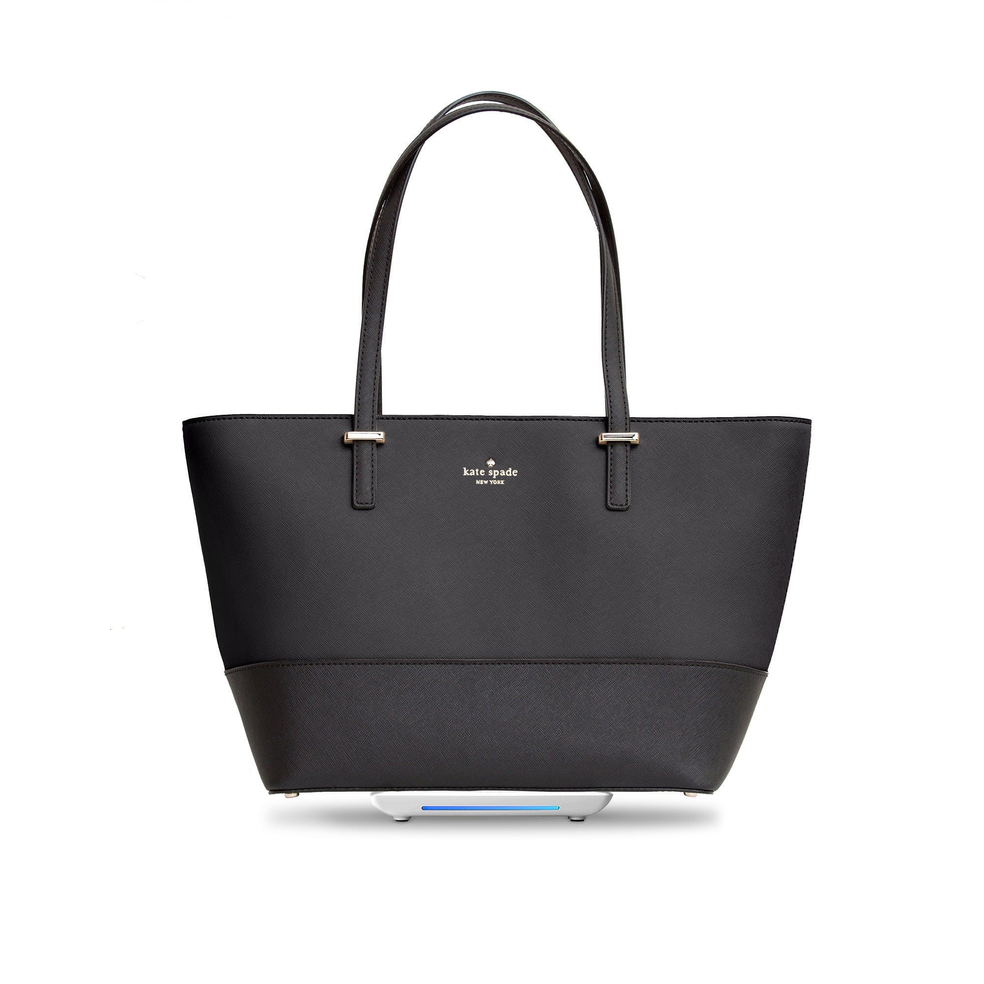 Everpurse Kate Spade Small Harmony Black iPhone Charging Tote Front View on Top of Everpurse Charging Mat