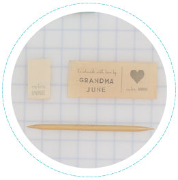closeup of personalized handstamped label