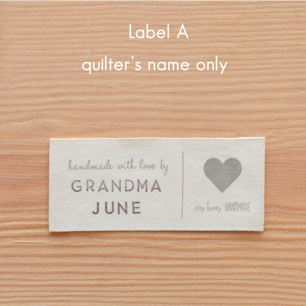 personalized quilt label A