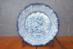 Plate With Blue Rampant Lion From Puente Del Arzobispo, Spain