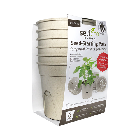 "4"" Round - Compostable Seed Starting Garden Pots - 6 Pack-SelfEco Garden"