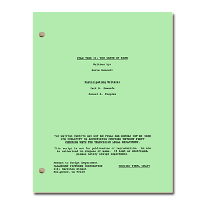 Star Trek II: The Wrath of Khan Script