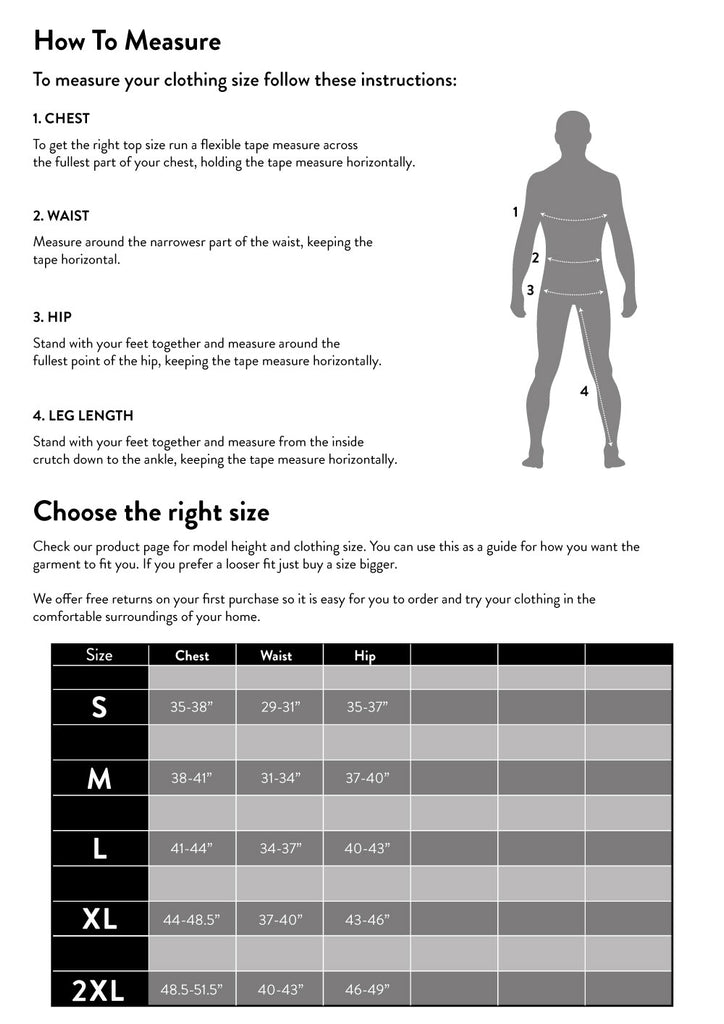 Nasty Lifestyle size chart and clothing size guide