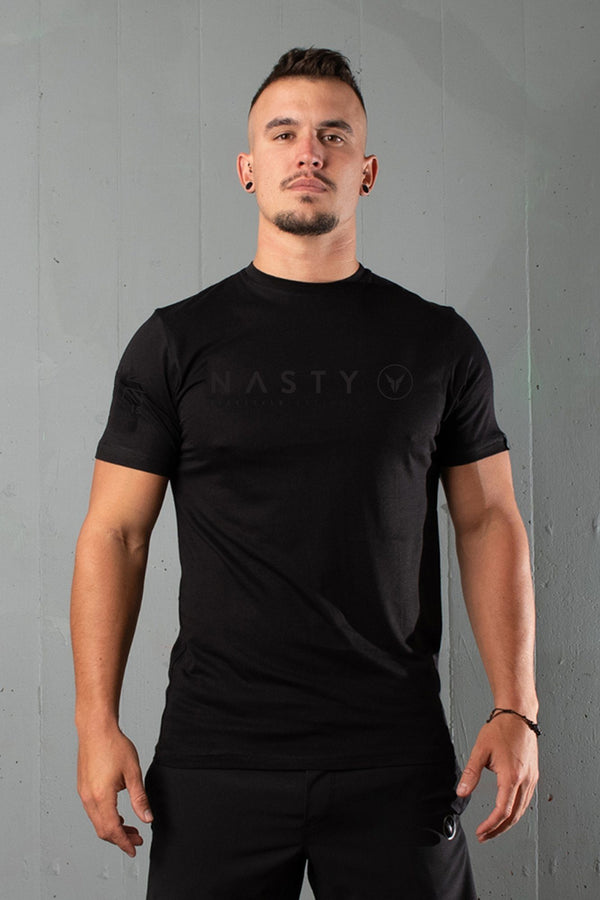 Nasty Lifestyle mens t-shirt with corporate logo print on chest