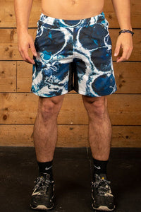 Blurred marble printed gym shorts mens with elasticated waist and Nasty Lifestyle logo