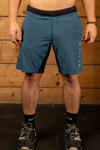 Blue CrossFit training short with hidden zip pocket