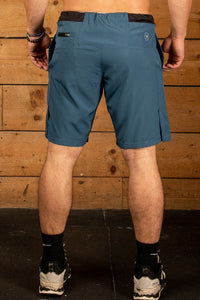 Blue CrossFit training short with leg vents