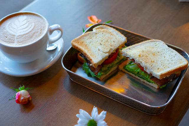 BLT + latte + flowers