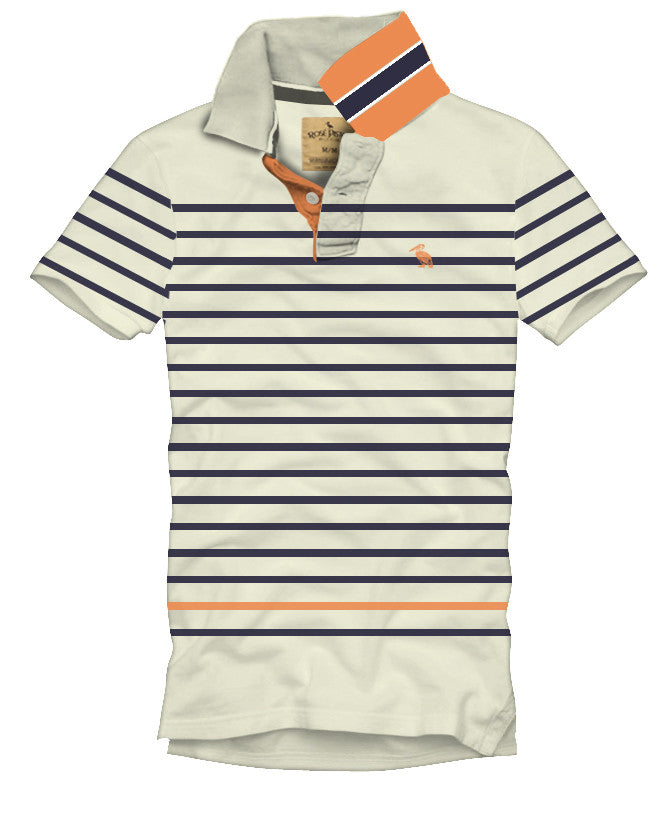 fell contrast collar striped polo