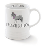 French Bulldog. Delightful watercolor images feature the best in breed of the pups in this collection. Ceramic mugs hold approximately 12 liquid ounces.