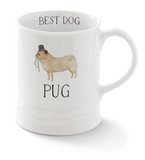 Pug. Delightful watercolor images feature the best in breed of the pups in this collection. Ceramic mugs hold approximately 12 liquid ounces.