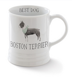 Boston Terrier. Delightful watercolor images feature the best in breed of the pups in this collection. Ceramic mugs hold approximately 12 liquid ounces.