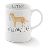 Yellow Lab. Delightful watercolor images feature the best in breed of the pups in this collection. Ceramic mugs hold approximately 12 liquid ounces.