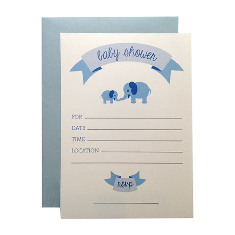 Our adorable blue elephants fill-in invitations are perfect for a Baby Shower! Designed by the Paper on Pine design team.