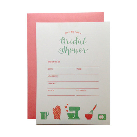 bakingcooking bridal shower fill in invitations paper on pine
