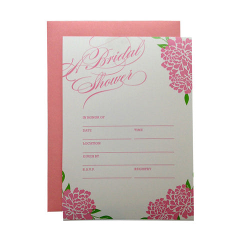 Bridal Shower Pink Floral Fill In Invitations Paper On Pine