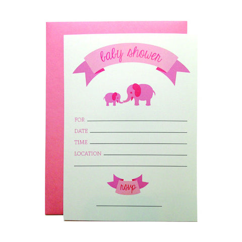 Pink Elephants Fill-in Invitations