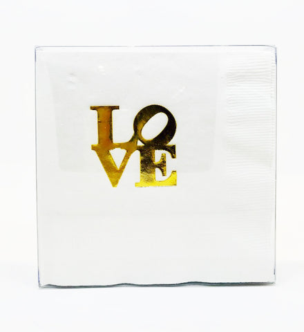 5x5 inch white cocktail napkins printed with gold foil or matte red LOVE. 25 per package.