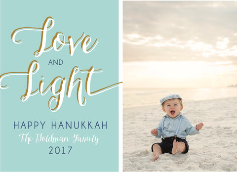 Love & Light (Hanukkah) - Holiday Photo Card