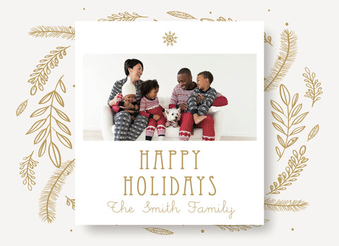 Holiday Photo Card- Illustrated Gold Wreath