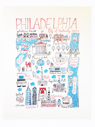 This adorable illustrated Philadelphia map print by Julia Gash is the perfect addition to any home. It's also a great housewarming gift!