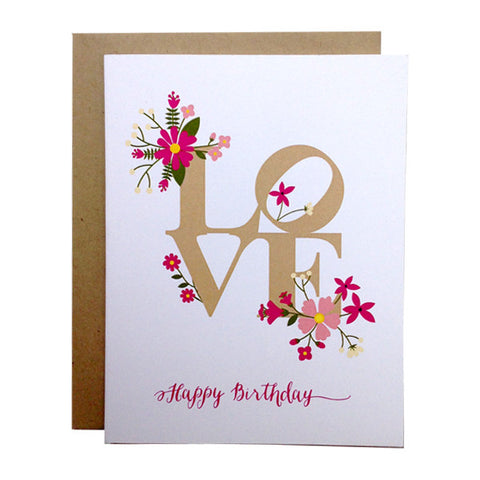 "Philly ""LOVE Happy Birthday"" card  -These original greeting cards are created by Paper on Pine's Design Team.   Inside greeting: Best wishes for a lifetime of love and happiness."