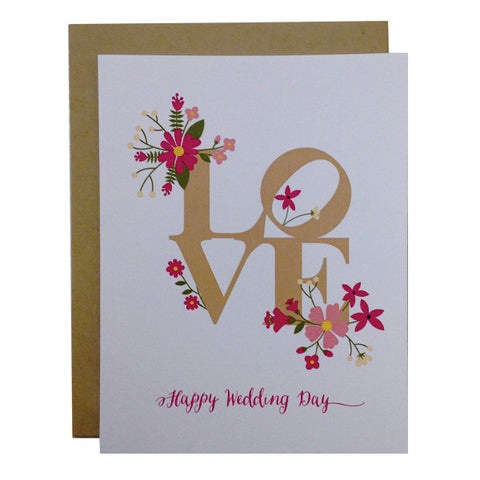 "Philly ""LOVE Happy Wedding Day Card"" card  -Perfect for any wedding  -These original greeting cards are created by Paper on Pine's Design Team."