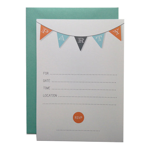 Flag Banner Party! Fill-in Invitations