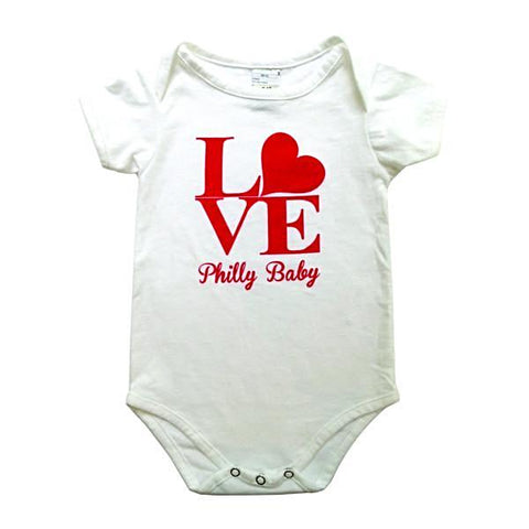 100% cotton Philly Love onesie designed by Paper on Pine. 0-6 and 6-12 months.