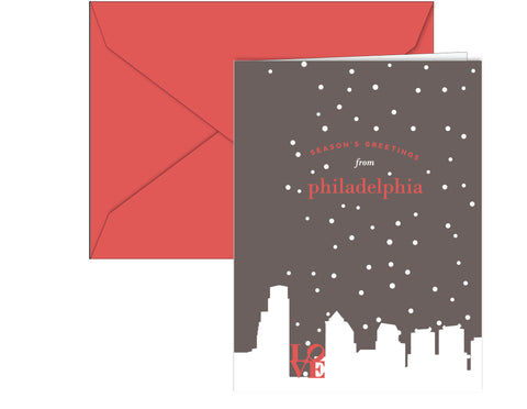 Philly skyline holiday cards with LOVE statue designed by Paper on Pine. Inside greeting: Wishing you all the warmth of the season. 10 per box.