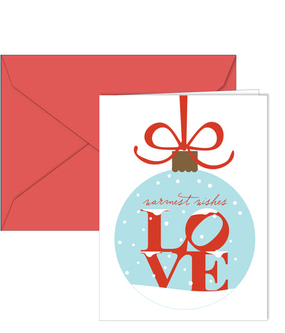 Philly themed holiday cards with LOVE statue in a snow globe. Designed by Paper on Pine. 10 per box. Blank inside.