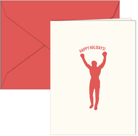 Philly Rocky themed holiday cards. Designed by Paper on Pine. Inside greeting is: And a knockout New Year. box of 10