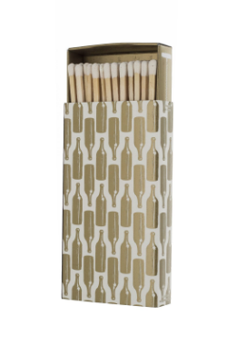 Gold Bottles Matchbox Light your candles with ease with these extra long safety matches.