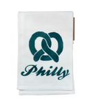 Our Philadelphia themed tea towels are the perfect hostess gift! Made from 100% cotton and printed in the USA, these towels are the lovely addition to any home! Teal pretzel design.