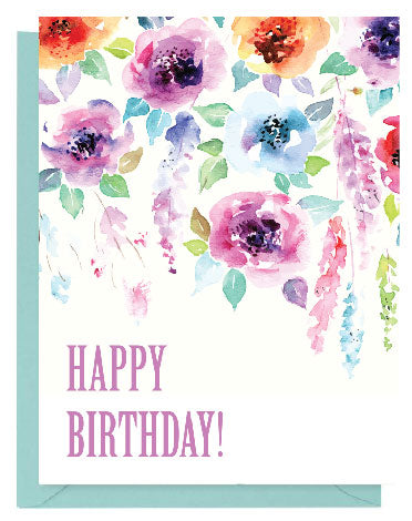 Purple Floral Watercolor Happy Birthday Card