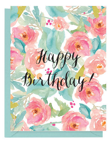 Tropical Floral Watercolor Happy Birthday Card