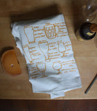 All the most important shapes of beer glassware, each drawn, labeled + screenprinted onto washable lint-free floursack cotton kitchen towels.