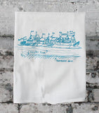 Philadelphia's Boathouse Row on the Schuykill River, drawn, labeled + screenprinted onto washable lint-free floursack cotton kitchen towels. All lit up on the Schuykill, it's one of the most beautiful and most photographed places in the city.
