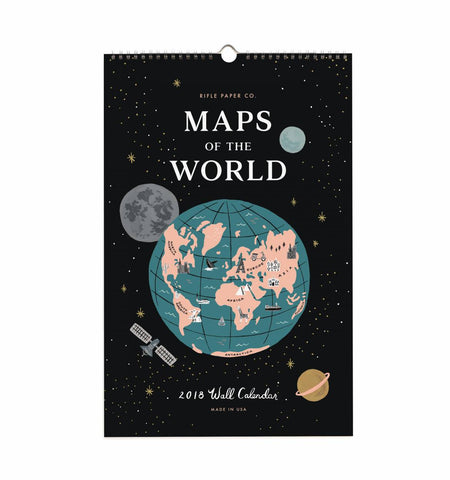 2018 calendar featuring 12 travel-inspired original illustrations from around the world including Paris, London, Rome, Amsterdam, among others. From Rifle Paper Co.